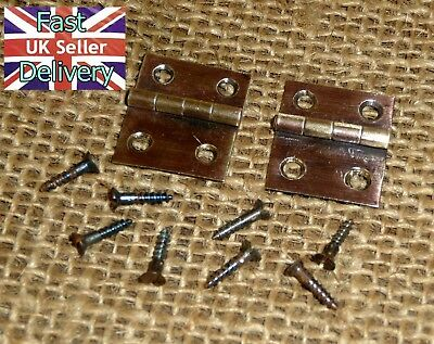 Pair Vintage Clock Door Hinges & Screws. Smiths Enfield Mantle Clock. Cleaned.