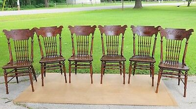 Set of 6 Antique Lion Head Pressed Back Carved Oak Dining Chairs