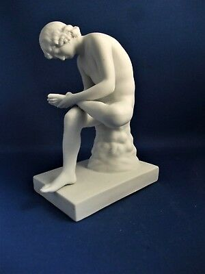 Antique 19Thc Parian Bisque Figure Of Naked Male Spinario