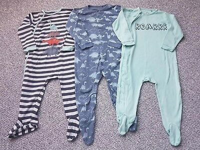 Boys Next Dino Sleepsuits 3 Pack 18-24 Months