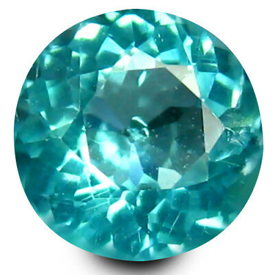 0.59 ct Round Cut (5 mm) Un-Heated Paraiba Blue Color Brazilian Apatite Gemstone