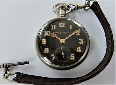 1940's Carley & Clemence Military 15 Jewelled Swiss Lever Pocket Watch Working
