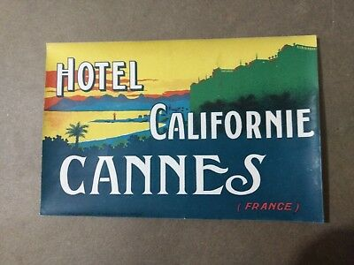 Hotel Californie Cannes France Luggage Label 1930