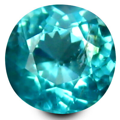 0.52 ct Round Cut (5 mm) Un-Heated Paraiba Blue Color Brazilian Apatite Gemstone