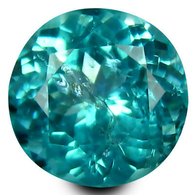 1.11 ct Round Cut (6 mm) Un-Heated Paraiba Blue Color Brazilian Apatite Gemstone