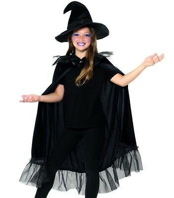 Childs Halloween Fancy Dress Girls Sparkly Witch Kit Cape & Hat Black by Smiffys