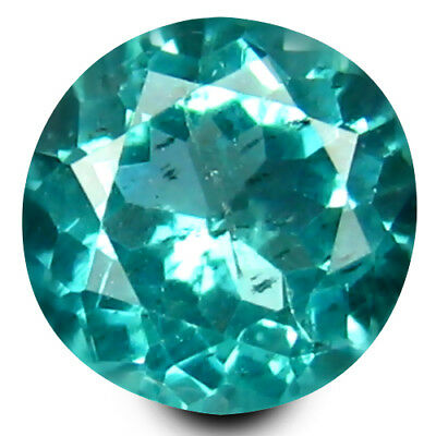 0.60 ct Round Cut (5 mm) Un-Heated Paraiba Blue Color Brazilian Apatite Gemstone