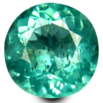 1.04 ct Round Cut (6 mm) Un-Heated Paraiba Blue Color Brazilian Apatite Gemstone