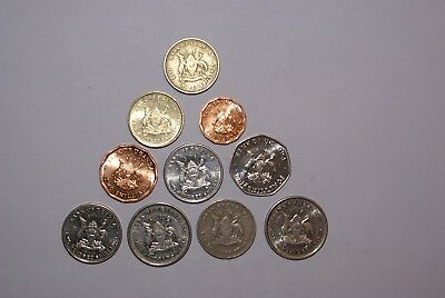 10 DIFFERENT COINS from UGANDA (6 DENOMINATIONS)