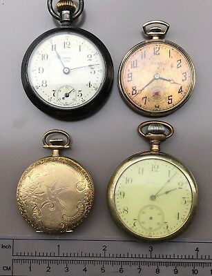 4 ANTIQUE POCKET WATCHES - ALL EARLY 1900's - EACH NEED RECONDITIONING