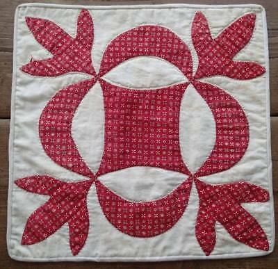 EARLY Civil War Era Turkey Red Antique Applique Table Doll QUILT 13x13