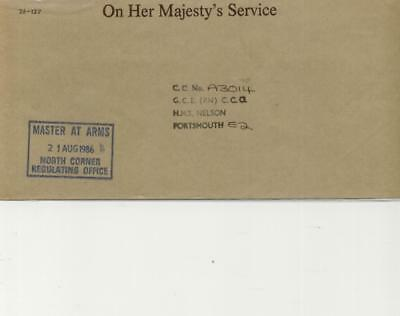 Master at Arms North Corner Regulating Office Royal Navy Cachet on OHMS envelope