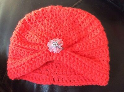 👶👶👶 HAND MADE CROCHETED BABY GIRLS TURBAN  WITH  FLOWER  3 - 6 month 👶👶👶