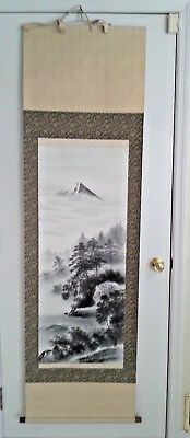 Vintage  Brocade Japanese  Wall Art Scroll - Moutain, Lake, Trees - 6' x 21""