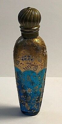 ANTIQUE Victorian GOLD PAINTED BLUE GLASS CRYSTAL SCENT BOTTLE