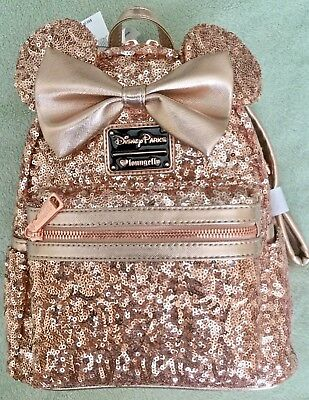 DISNEY Parks Loungefly Rose Gold Minnie Mini Backpack Purse Bag - NWT