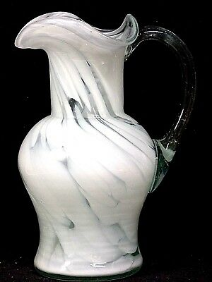 """Large Hand Blown Glass Pitcher, Marbled White Glass, 7.25"""" Tall, EX."""