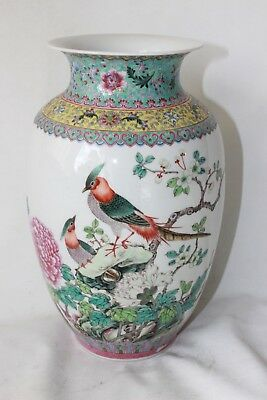 early chinese republic vase signed marked porcelain pottery famille rose 28,5 cm