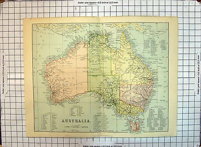 Original Old Antique Print Map Australia Perth Tasmania Sydney Tropic Capricorn
