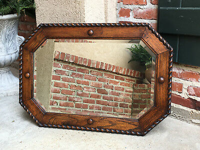 Antique English Carved Tiger Oak Beveled MIRROR Octagon Barley Twist Jacobean