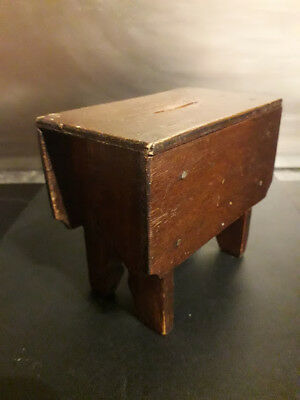 Antique Victorian Scratch Built Wooden Drop Leaf Table Shape Money Box