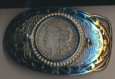 1921 Morgan Silver Dollar Belt Buckle **great Toning** Cool Collectible!