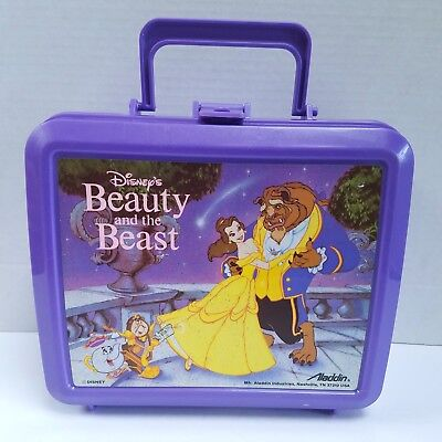 Vintage Aladdin Disney Beauty and the Beast Plastic Lunchbox - VGC