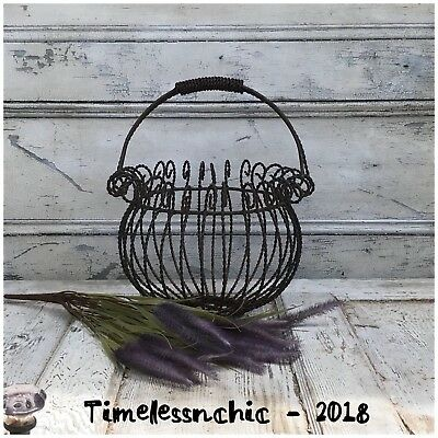 Large Vintage Iron Basket Planter Metal~Planter Basket~Cottage Garden Planter