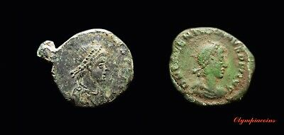 Lot Of 2 Very Fine Ancient Roman Bronze Ae4 ** Minima ** Coins