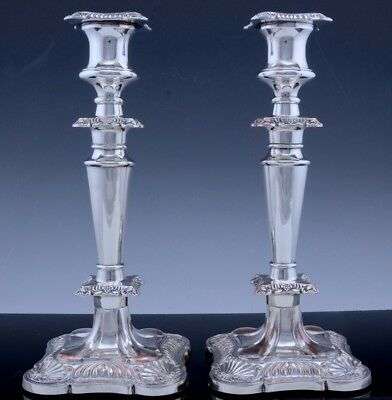 VERY NICE LARGE PAIR c1930 GEORGIAN FORM SHELL MOTIF SILVER PLATE CANDLESTICKS