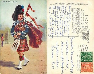 s08299 Piper, The Scots Guards, Scotland postcard posted 1942 stamp