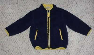 Navy Hanna Andersson Fleece Jacket w/ Yellow Trim, Size 90 or US Size 3T, VGUC