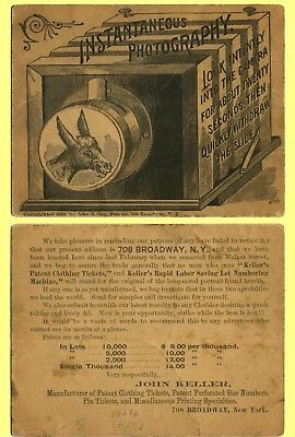 1889 Joke Ad Trade Card, NYC Keller Patent Clothing Tickets, Donkey in Lens