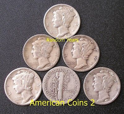 LOT OF 6 X Coins RANDOM YEARS 10 Cent 90% Silver MERCURY DIMES F/VF Condition
