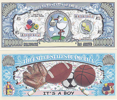 10 It's a Boy! Birth Announcement Keepsake Bills Lot