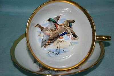 Lovely Vintage Hammersley bone china tea cup saucer set w/Birds - Flying Ducks