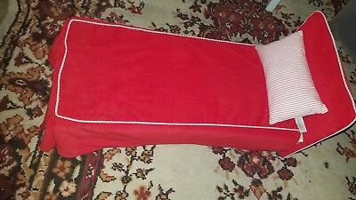 American girl doll bed molly red  bed and pillow
