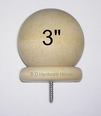 "3"" - Round Wood Ball Finial for Wood Newel Post Railing Cap"