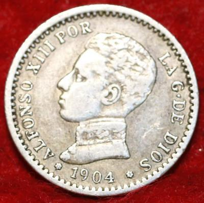 1904 Spain 50 Cents Silver Foreign Coin
