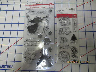 2 New Recollections Christmas Clear sets- 21stamps Noel- Angel-Sentiments-Tree-