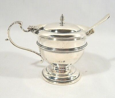 Antique 1901 STERLING Silver MUSTARD POT footed lidded w/ Spoon Condiment