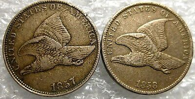 1857 & 1858 Flying Eagle Cents Circulated  (2 Coins)