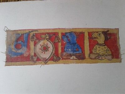Antique India Hindu or Jain Orig Painting on Cloth Unknown Age Crowned Animals