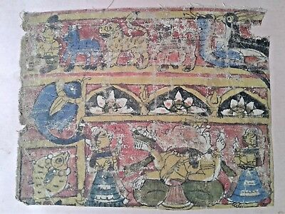 Antique India Hindu or Jain Orig Painting on Cloth Unknown Age Ganesh