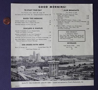 1974 Covington,Kentucky Quality Inn Riverview Frisch's Big Boy Restaurant menu!
