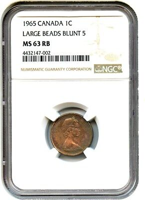 Canada: 1965 1c NGC MS63 RB (Large Beads, Blunt 5) - Cent - Gorgeous Toning
