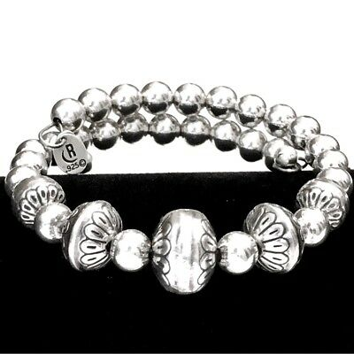 CAROLYN POLLACK Relios Sterling Silver Stamped Bead Coil Wrap Beaded Bracelet