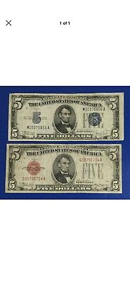 1934C & 1928C $5 Blue SILVER Certificate & RED US LEgal Tender Set of 2! X856