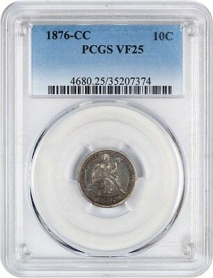 1876-CC 10c PCGS VF25 - Liberty Seated Dime