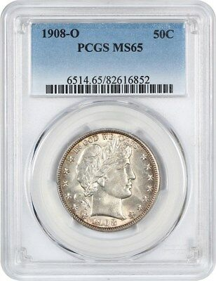 1908-O 50c PCGS MS65 - Barber Half Dollar - Nice Type Coin